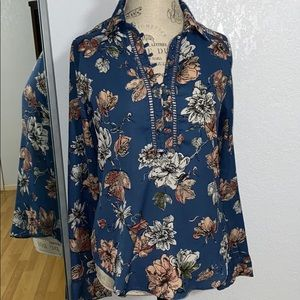 Abercrombie and Fitch floral blue bottom down